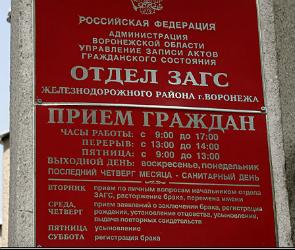 В связи с реконструкцией ЗАГС Железнодорожного района Воронежа с осени будет закрыт