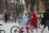 Велопробег Дедов Морозов и Снегурочек в Воронеже