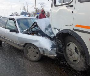 В Воронеже женщина на «Ауди» врезалась в маршрутку: пострадал ребенок (ФОТО)