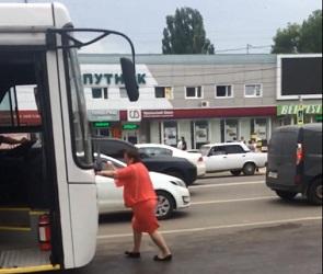 В Воронеже женщина легла на капот авто и пыталась остановить руками автобус