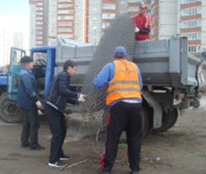 В Воронеже демонтировали незаконную парковку