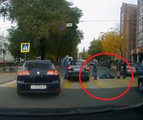 Воронежцы сняли на видео ДТП, в котором машина ГБР сбила женщину на переходе