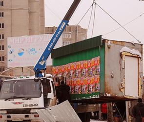Появились фото сноса 28 киосков на незаконном рынке на Остужева в Воронеже