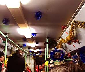 В Воронеже водителя автобуса №90 оштрафовали за новогодние украшения в салоне
