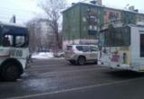 На Ленинском проспекте столкнулись автобус №16в и троллейбус