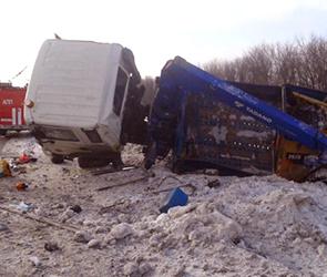 На трассе М-4 под Воронежем перевернулся автокран, тяжело ранен человек