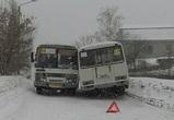 В Воронеже на узкой дороге не смогли разъехаться два ПАЗика
