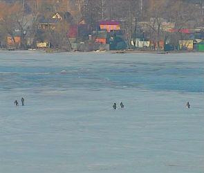 Воронежских рыбаков не пугает подтаявший лед на водохранилище