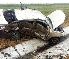 Появились фото столкновения Лады и БМВ под Воронежем: погибли мужчина и женщина