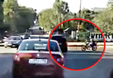 Опубликовано видео ДТП в Воронеже с мотоциклом, протаранившим иномарку