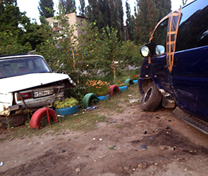 Появились фото пьяного ДТП с пятью автомобилями в микрорайоне ВАИ в Воронеже