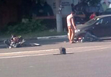 Появилось видео массового ДТП в центре Воронеже с участием мотоциклиста