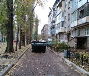 Воронежцев возмутил мусорный контейнер, оставленный на проезжей части