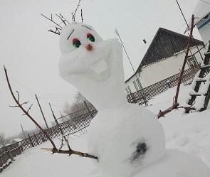 Воронежцы слепили из снега обаятельного героя мультика «Холодное сердце»