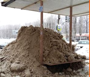 Воронежцев возмутили коммунальщики, завалившие грязным снегом остановку (фото)