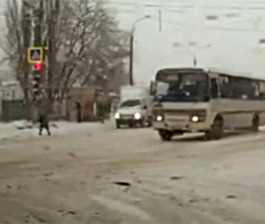 В Воронеже полиция наказала маршрутчика за наглый проезд на красный свет, видео