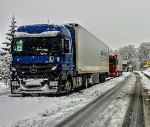 Под Воронежем несколько часов вытаскивали фуру, застрявшую в снегопад на трассе