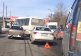 И снова пробка: На Северном мосту столкнулись 2 ПАЗика, грузовик и 2 легковушки