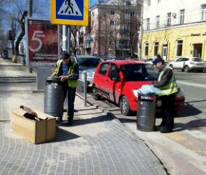 Современные антивандальные урны установили в центре Воронежа