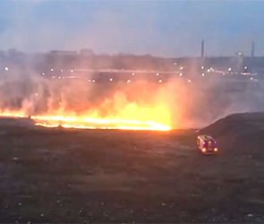 Появилось видео крупного пожара рядом с ТЦ «Метро» в Воронеже
