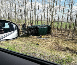 Под Воронежем пьяный водитель ВАЗа вылетел на обочину и перевернулся