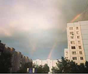 Воронежцы публикуют фотографии двойной радуги после матча Россия-Испания