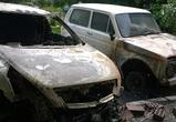 Воронежцы публикуют фото ночного пожара: горели «Нива» и «Ниссан Тиана»