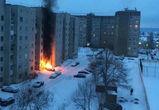 В Воронеже сгорела неудачно припаркованная элитная иномарка