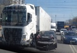 Из-за ДТП с фурой на левом берегу Воронежа образовалась огромная пробка – фото