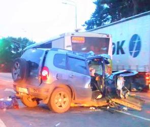 В аварии с автобусом на въезде в Воронеж тяжело ранены мужчина и мальчик: ВИДЕО