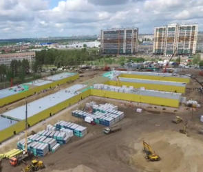 Воронежцам с высоты показали стройплощадку новой инфекционной больницы