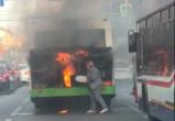 В центре Воронежа загорелся пассажирский автобус