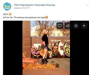 В Воронежской области женщина в мини-юбке станцевала на Братской могиле